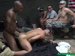Black soldier bangs white soldier in barrack