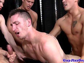 Jerking jocks in group cum after anal fucking