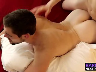 Sexy ass brunette hunk getting his asshole railed deeply