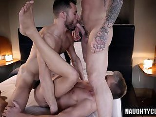 Tattoo gays threesome with cumshot
