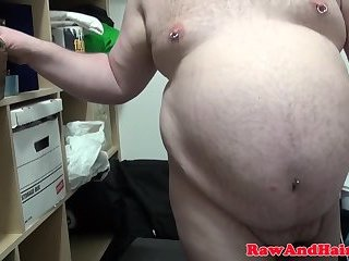 Chubby bear toying and wanking his cock