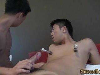 Gay asian gives handjob