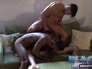 Latin gay threesome and cumshot