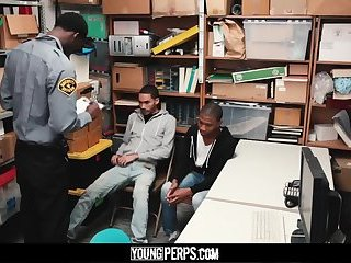 YoungPerps - Black hung mall cop barebacks two young shoplifting perps