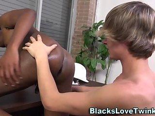 Twink cums on blacks guy
