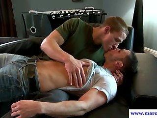 Circumcised stud gets cocksucked by jock