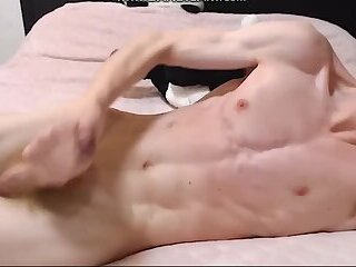 Young redhead guy jerks off on webcam and cums